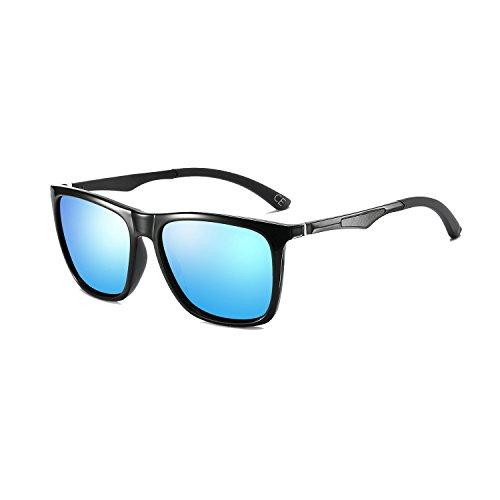 Frame Hommes Blue Lunettes Métal Cadre Polarisé Léger de Lens Super Femmes Mg Soleil Classique pour Al Black BLEVET BE003 waqXWBTq