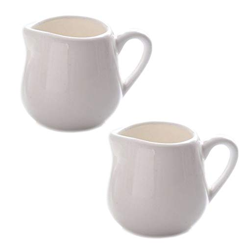 (CHOOLD Mini Classic Pure White Ceramic Creamer with Handle,Small Coffee Milk Creamer Pitcher - Set of 2)