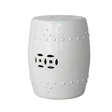 Asian Traditional Ceramic White Garden Stool Seat Decorative Porcelain  Ceramic Circle Oriental Furniture