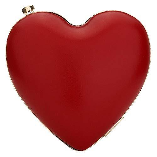 (EROUGE Cute Heart Shape Clutch Purses Women Rhinestone Clutch Evening Bag (Red))