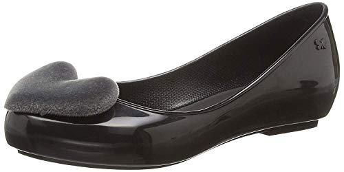 Shoes Black Womens Zaxy Heart Pop Flats Ballerinas Flock xqwIgO1t0