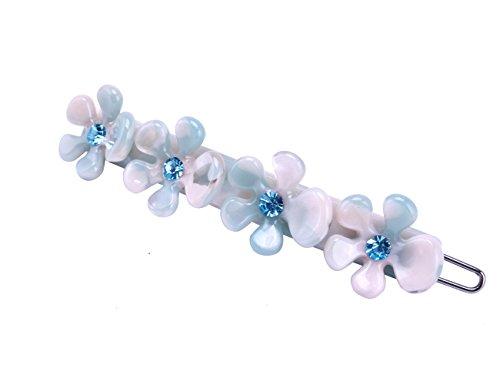 MS.CLEO Cellulose Acetate Hair Clip, Fashion Barrette Accessory (Cute Sweet Blue Flower) - Cellulose Acetate