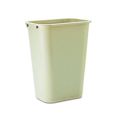 Rubbermaid Commercial 295700BG Deskside Plastic Wastebasket, Rectangular, 10 1/4 gal, Beige