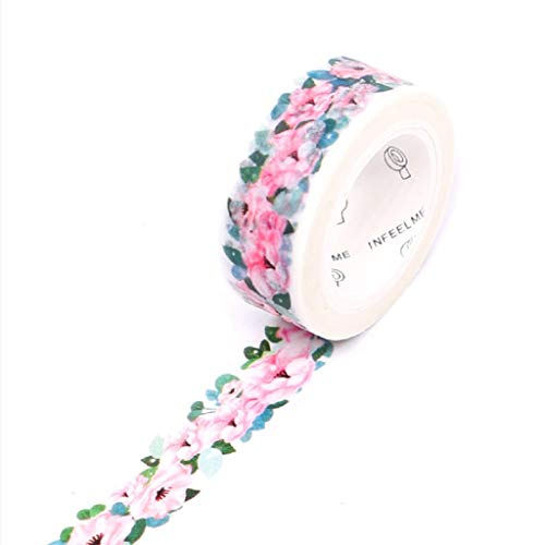Floral Washi Masking Tape Set + Tape Dispenser, Spring Flower Decorative Paper Tapes for Arts and DIY Crafts, Scrapbooking, Bullet Journal, Planner, Gift Wrapping, Holiday Decoration 3m (Bicycle Tape Dispenser)