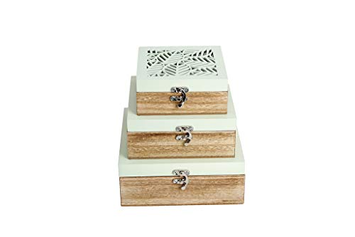 Leaf Green Music Box - Wooden Handcrafted 3-piece Jewelry Box Set in Light Green - Metal Latch & Glass Cover - Unique Leaf Design - Jewelry Organizer for Women & Girls - Storage for Earring Bracelet Rings & Necklace