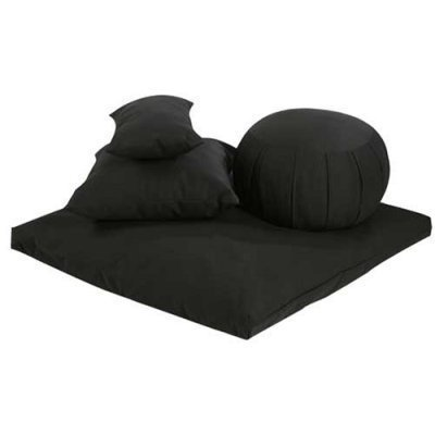 Buckwheat Zafu, Zabuton and Support Meditation Cushions Set (4Pc), Black