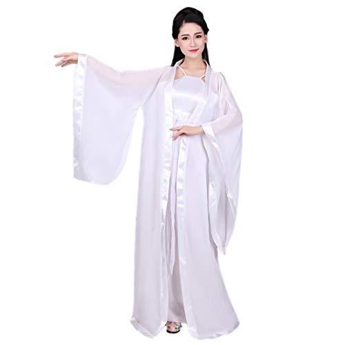 Ez-sofei Women's Ancient Chinese Traditional Hanfu Dress Cosplay Costume (S, White)