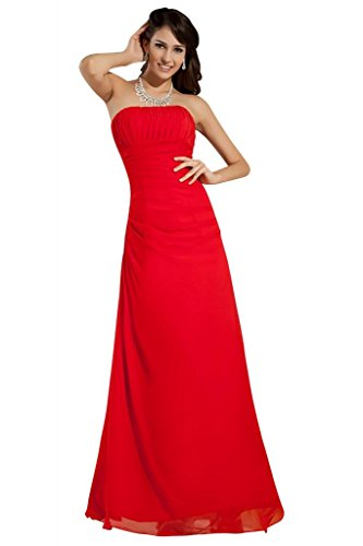BRIDE Rot Red Dress Evening GEORGE Empire Line Strapless Chiffon U1dx1qFwR