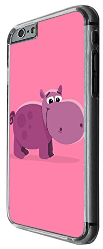 1146 - Cute Fun Hippo Animal Pinky Design For iphone 6 Plus / iphone 6 Plus S 5.5'' Fashion Trend CASE Back COVER Plastic&Thin Metal -Clear