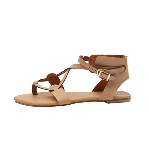 HUHU833 Women Sandals, Summer Round Toe Breathable Lace-up Beach Rome Casual Flat Shoes Brown