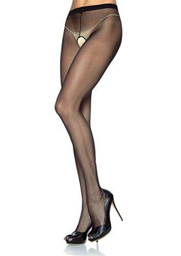 Womens Leg Avenue 1905Q Plus Size Sheer Nylon Crotchless Pantyhose