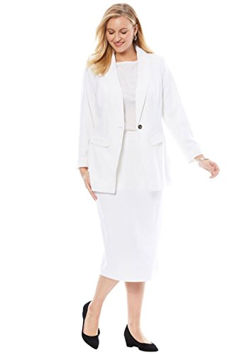 Jessica London Women's Plus Size 2-Piece Single-Breasted Skirt Suit White,18