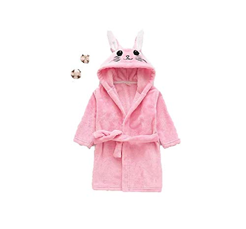 MATISSA Children's Robe Dressing Gown Bathrobe Animal Hooded Towel Robe Sleepwear Cosplay Kids Costumes Pajamas (Large, Pink Rabbit)
