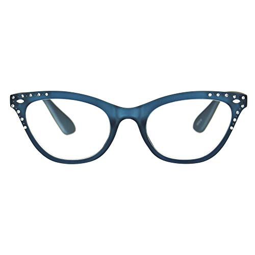 Womens Bling Rhinestone Plastic Cat Eye Horn Rim Powered Reading Glasses Blue 3.0