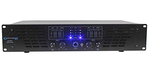 Technical Pro AX AMPLIFIER SERIES AX3000 3000 Watts Peak Power 2U Professional 2 Channel Power Amplifier, Black