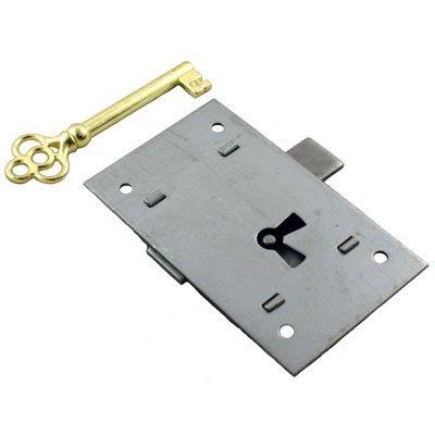 UNIQANTIQ HARDWARE SUPPLY L-2 Steel Flush Mount Cabinet Door Lock & Skeleton Key + Free Bonus (Skeleton Key ()