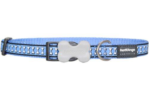 Red Dingo Reflective Dog Collar, Medium, Mid-Blue