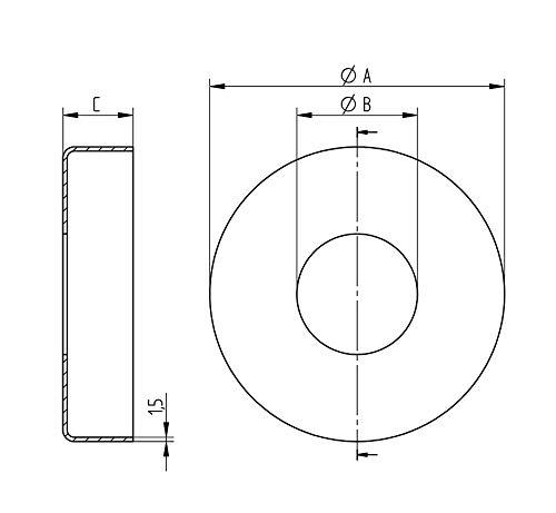 Mittelbohrung /Ø 49 mm, /Ø A =125 mm Zweiteilige Rosette V4A geschliffen zur Rondenabdeckung
