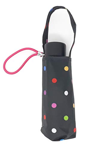 - Totes Micro Mini Manual Compact Umbrella, NeverWet technology, Colorful dots on black, 38