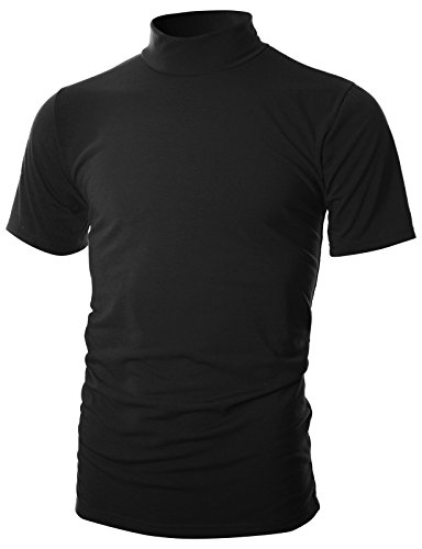 Ohoo Mens Slim Fit Soft Cotton Short Sleeve Pullover Lightweight Turtleneck with Warm Inside /DCT101-BLACK-L by Ohoo