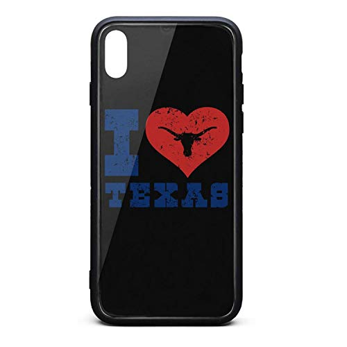 (Phone Case for iPhonexs New I Love Texas Longhorn Design Art - I Love Texas Tempered Glass Black Anti-Scratch TPU Rubber Bumper Shock Cover for Mens Back Cover)