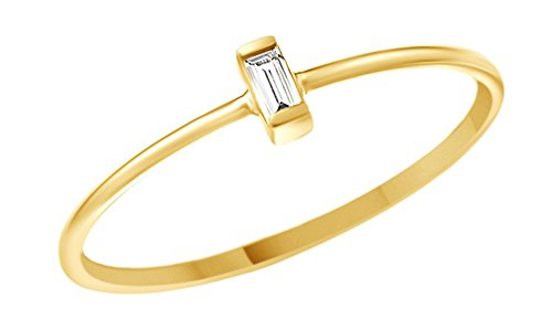 - AFFY Minimalist Tiny Baguette Cut Natural Diamond Wedding Engagement Ring in 10K Solid Gold