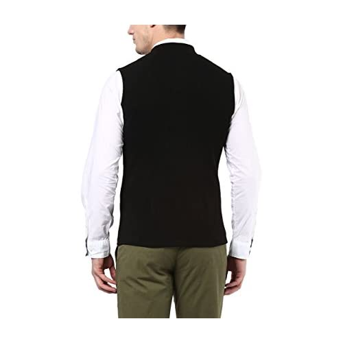 31MXii6yLwL. SS500  - Hypernation Black Color Cotton Casual Waistcoat