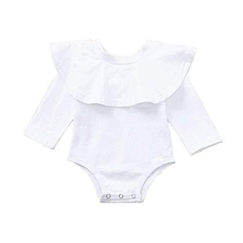 (PVSECTOR Baby Girls Ruffle Romper Floral Onesie Long Sleeve Bodysuit Jumpsuit (White, 70/(3-6M)))