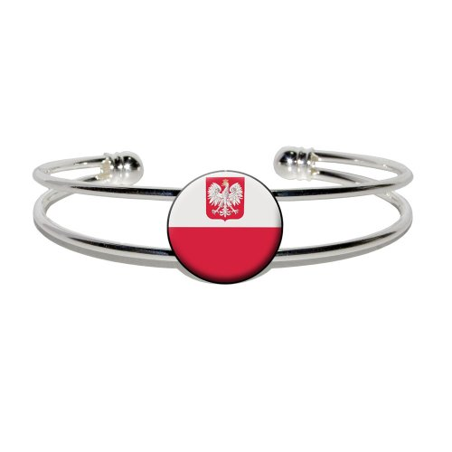 Poland Polish Flag - Novelty Silver Plated Metal Cuff Bangle Bracelet (Poland Costume)