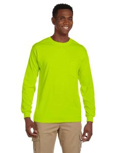 GILDAN Adult Ultra CottonTM Long-Sleeve Pocket T-Shirt>XL Safety Green 2410