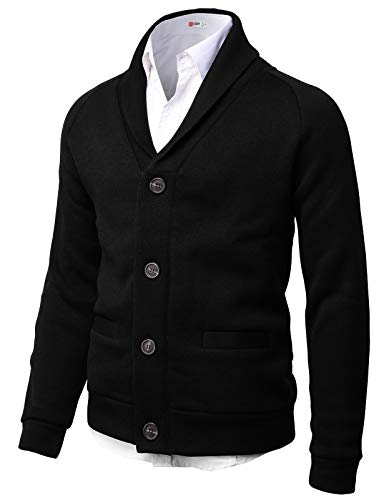 H2H Mens Knitted Fashion Long Sleeve Shawl Collar Button Front Cardigan Black US M/Asia L (CMOCAL031)