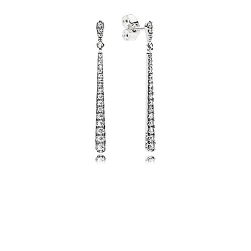 PANDORA Shooting Stars Dangle Earrings, Sterling Silver With 40 Bead-Set Clear Cz, 296351CZ