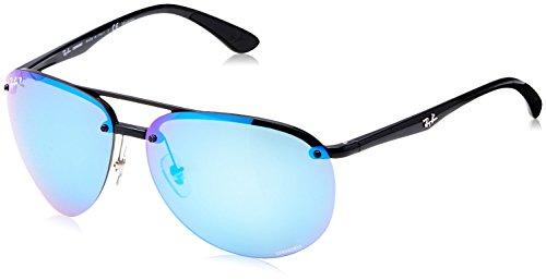 Ray-Ban RB4293CH Chromance Mirrored Aviator Sunglasses, Black/Polarized Blue Mirror, 65 mm (Ban Ray Sunglasses Rb4202)