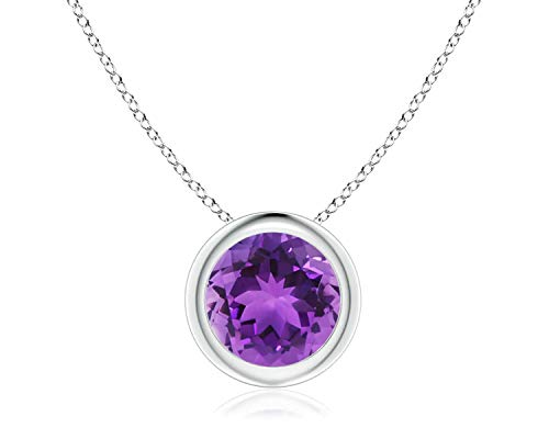 - 14k White Gold 7mm Round Amethyst Bezel Gemstone Pendant Necklace, 18