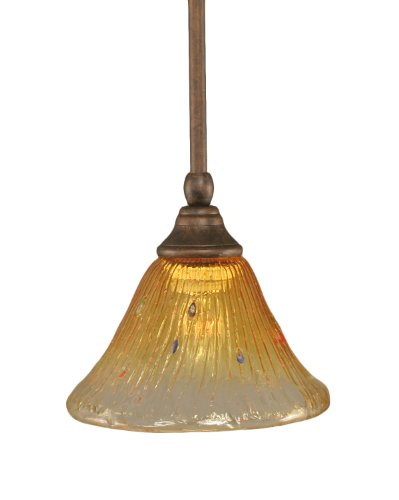 Toltec Lighting 23-BRZ-770 Stem Mini-Pendant Light Bronze Finish with Gold Champagne Crystal Glass, 10-Inch