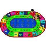 Spanish Carpet (Joy Carpets Kid Essentials Language & Literacy Oval Spanish LenguaLink Rug, Multicolored, 5'4