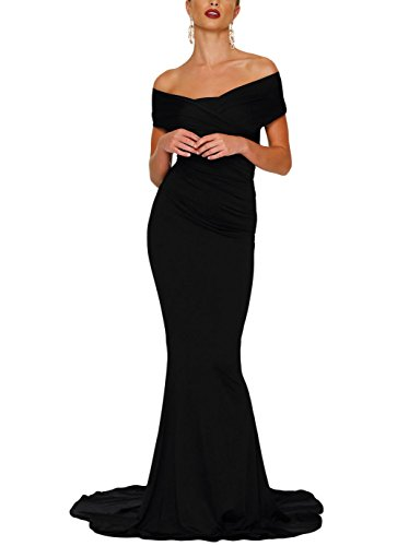 Sexy Off-Shoulder Mermaid Wedding Evening Party Gown Dress For Women Black XL