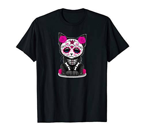 Sugar Skull Cat Day Of The Dead Halloween T-Shirt