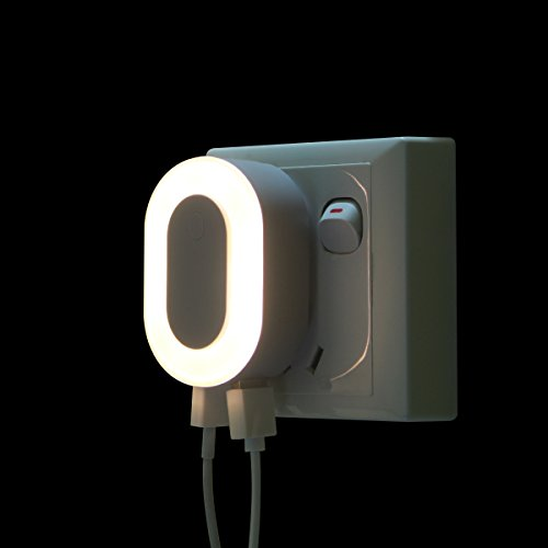 Dual Port USB Wall Charger with LED Night Light, Portable Smart Travel USB Wall Charger - White (Bathroom Light Dual)