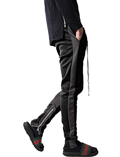 Mens Stripe Track Pants Skinny Fit Stretch Trouser Elastic Jogger