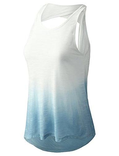YOGARURU Women's Super Soft Knit Cowl Back Ombre Yoga Tank Top
