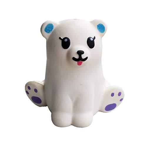 heavKin-toy Children's Adult Fun Toys Simulation Mini Adorable White Bear Slow Rebound Decompression Puzzle Plaything (10.5 x 9cm) (White, 10.5 x 9cm)