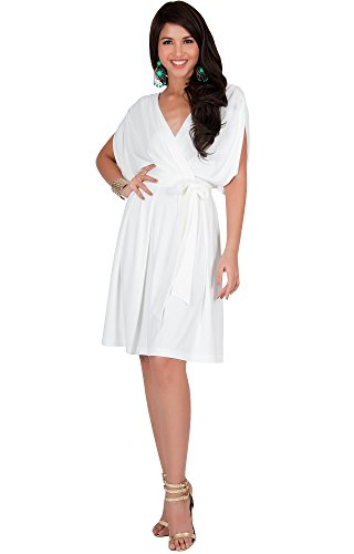 9fed0f184ac KOH KOH Plus Size Womens V-Neck Short Sleeve Flowy Bridesmaid Knee Length  A-line Formal Wedding Party Guest Summer Casual Modest Cute Sexy Sundress  Midi ...