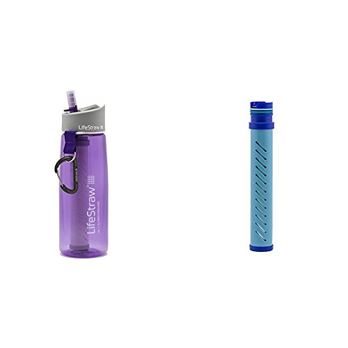 LifeStraw Go Water Bottle 2-Stage with Integrated 1 000 Liter LifeStraw Filter and Activated Carbon  Purple w/ LifeStraw Go Water Bottle 2-Stage Replacement Filter, Blue by LifeStraw