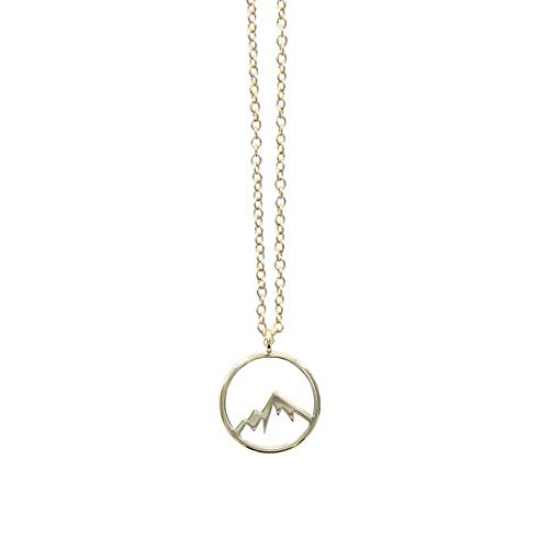 Pura Vida Sierra Gold Necklace - Mountain Design - Brass Base Gold Plating - 16 Inches w/Extender