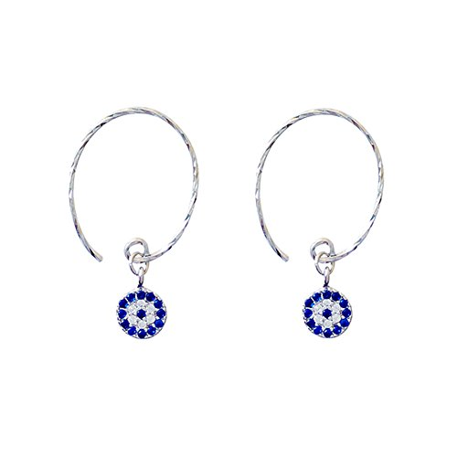 FarryDream Genuine 925 Sterling Silver Turkish Round Evil Eye Drop Earrings for Women Teen Girls Christmas Gifts (Silver)
