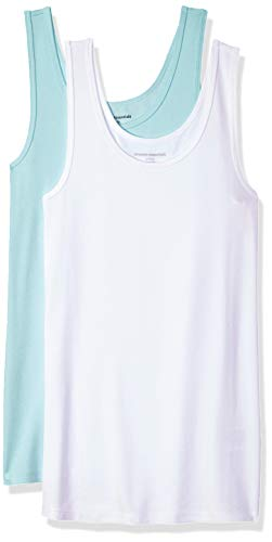 Amazon Essentials Women's 2-Pack Slim-Fit Tank, Aqua/White, X-Small