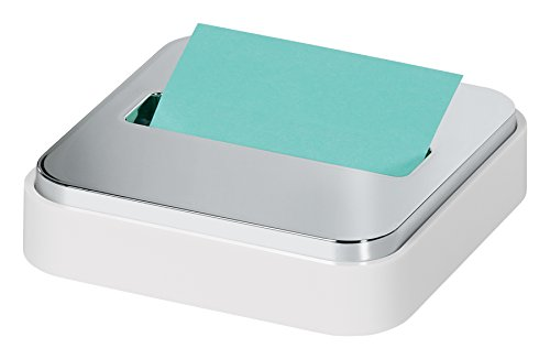 (Post-it Dispenser Sticky Dispenser, White & Silver, Easy One Handed Dispensing (STL-330-W))