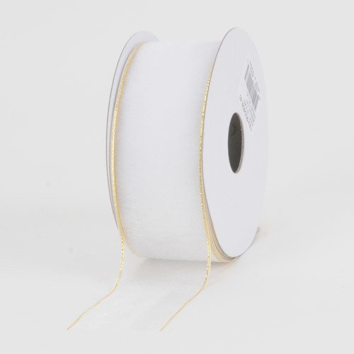 (BBCrafts 1-1/2 inch x 100 Yards Sheer Organza Ribbon Decoration Wedding Party (White with Gold Edge))