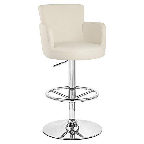 (Zuri Furniture Cream Chateau Adjustable Height Swivel Bar Stool with Chrome Base)